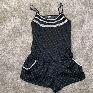 Victorias Secret Black Polka Dot Romper size L